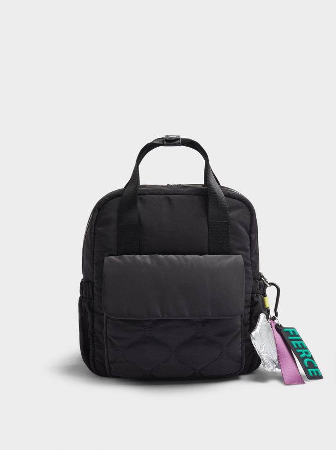 Quilted Nylon Backpack With Pendant, Black, hi-res