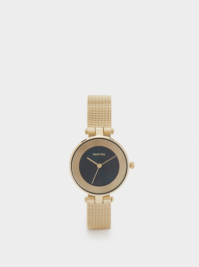 Watch With Metal Mesh Strap And Contrasting Face, , hi-res