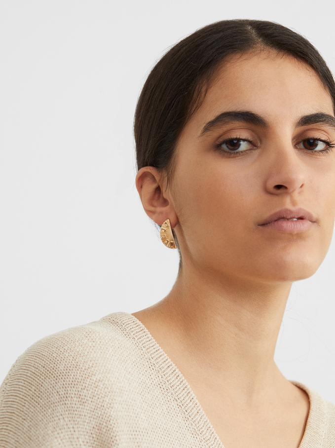 Creme Short Earrings, Camel, hi-res