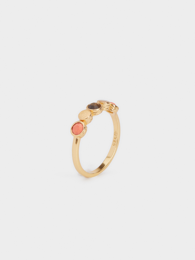 925 Silver Ring With Stones, Coral, hi-res