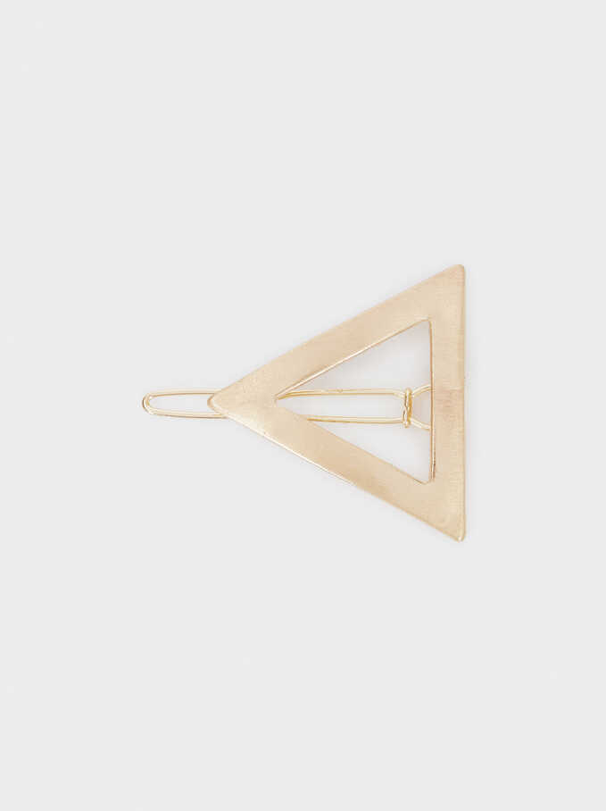 Triangular Hair Clip, Golden, hi-res