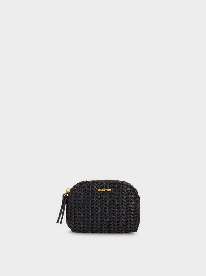 Small Textured Coin Purse, Black, hi-res