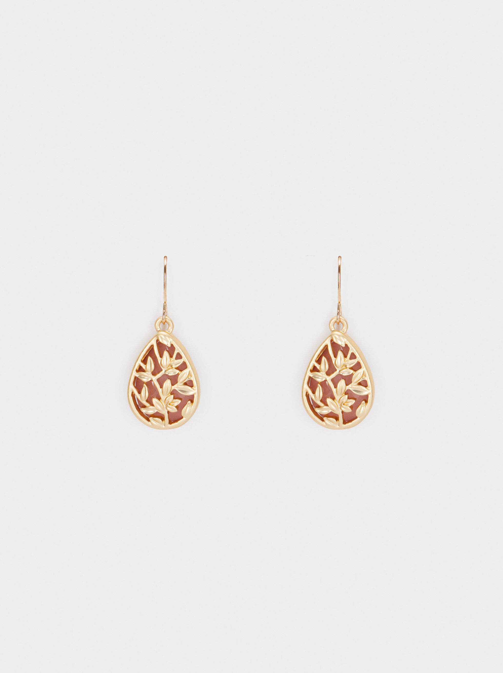 Medium Gold Earrings With Leaves, Multicolor, hi-res