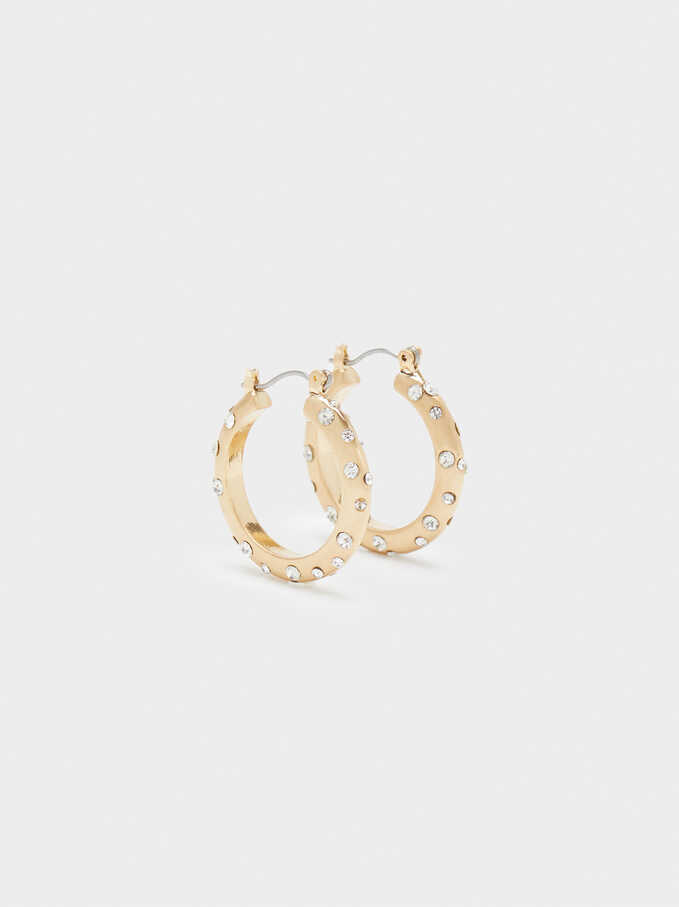 Large Hoop Earrings With Crystals And Faux Pearls, Golden, hi-res
