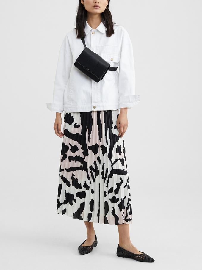 Animal Print Pleated Skirt, Pink, hi-res