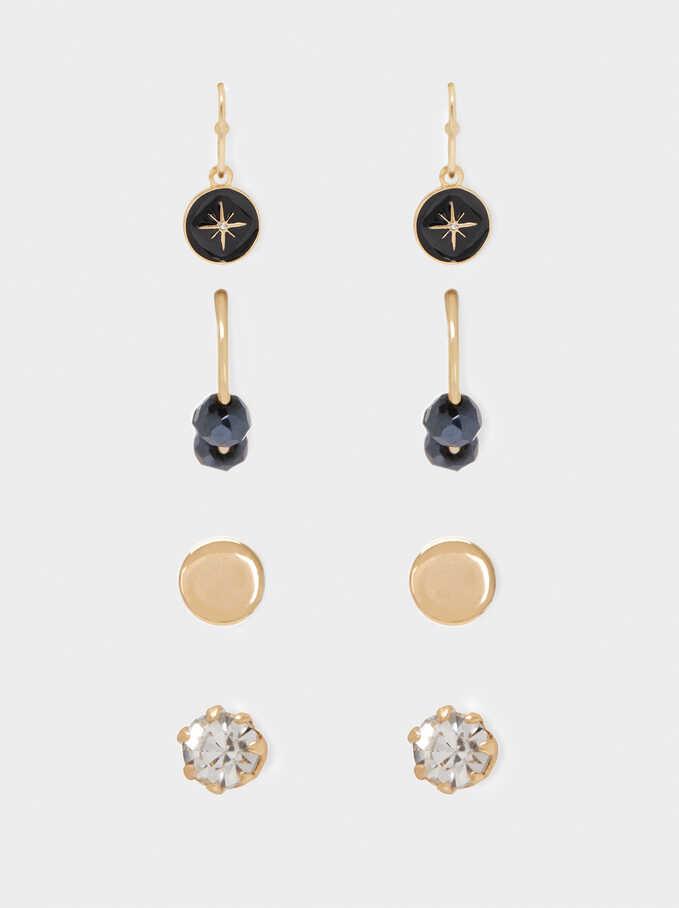 Set Of Hoop Earrings With Crystals, Blue, hi-res