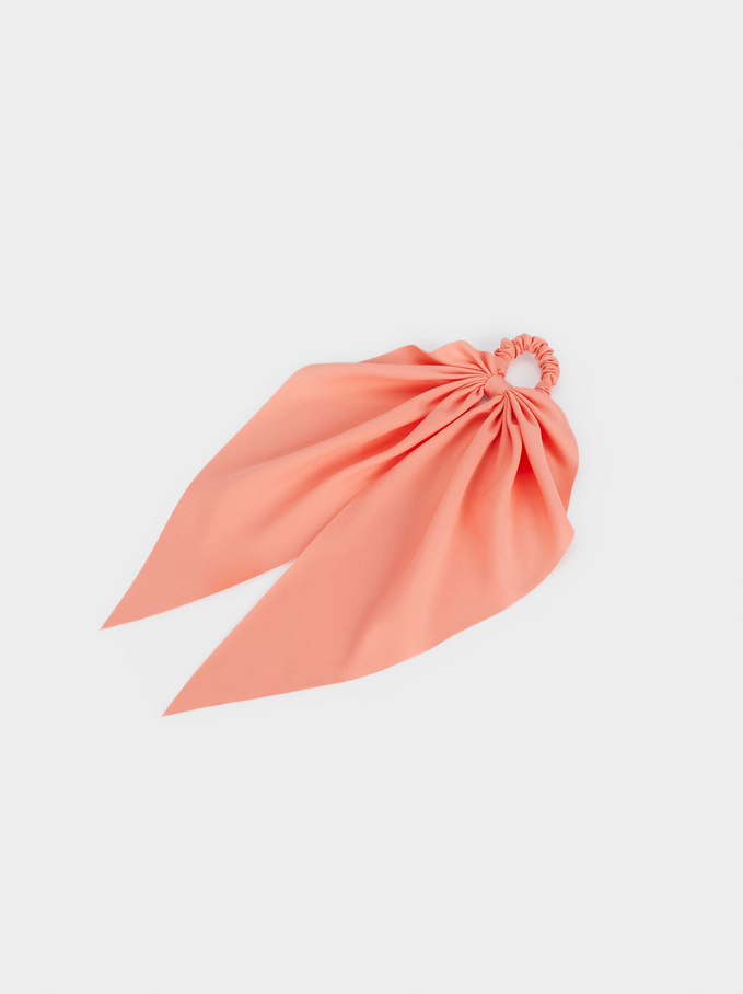 Scrunchie With A Bow, Coral, hi-res