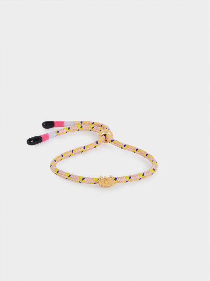 Multicoloured Adjustable Steel Bracelet With Eye, Multicolor, hi-res