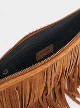 Bolso Bandolera Textura Ante Flecos, Camel, hi-res