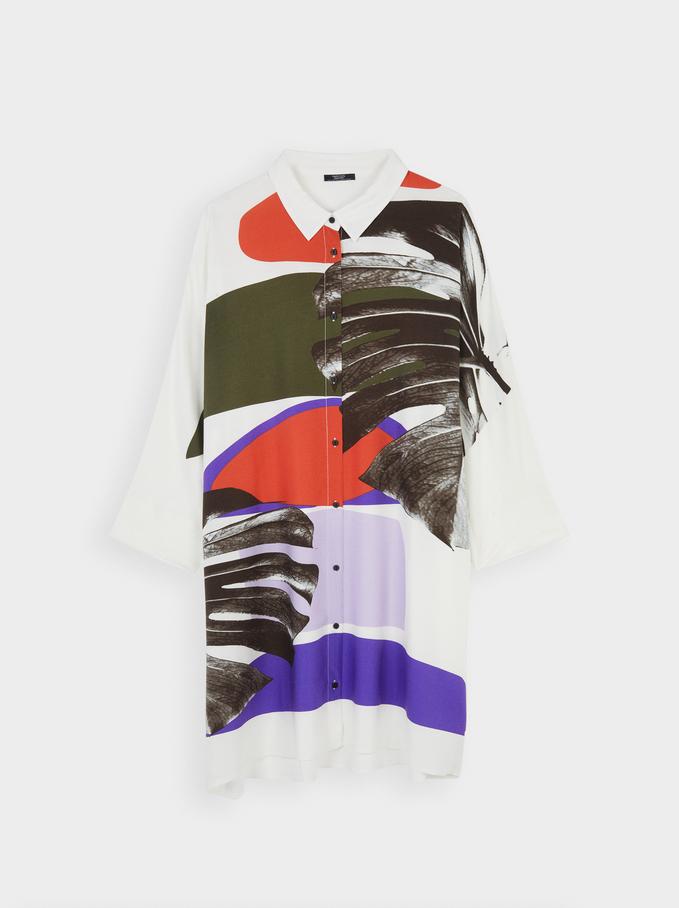 Multi-Colour Print Flowing Dress, White, hi-res