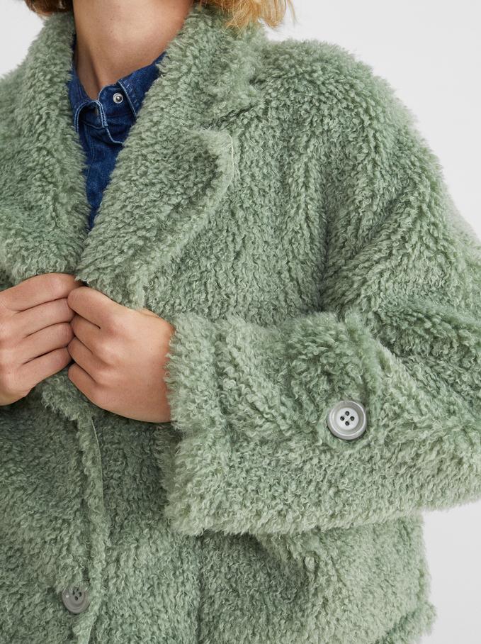 Casaco Curto Teddy, Verde, hi-res