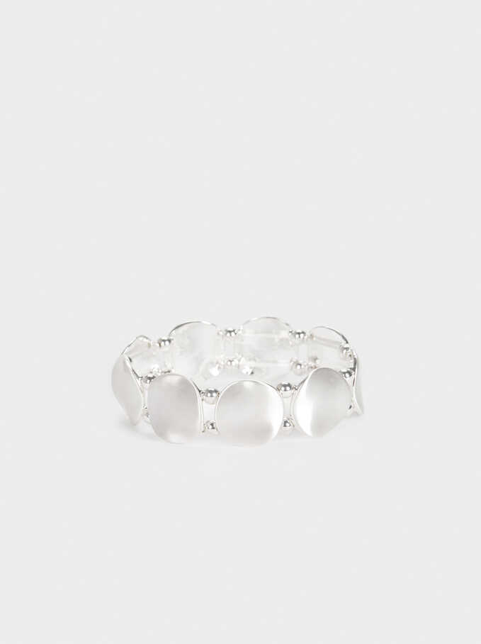 Silver-Plated Elasticated Bracelet, Silver, hi-res
