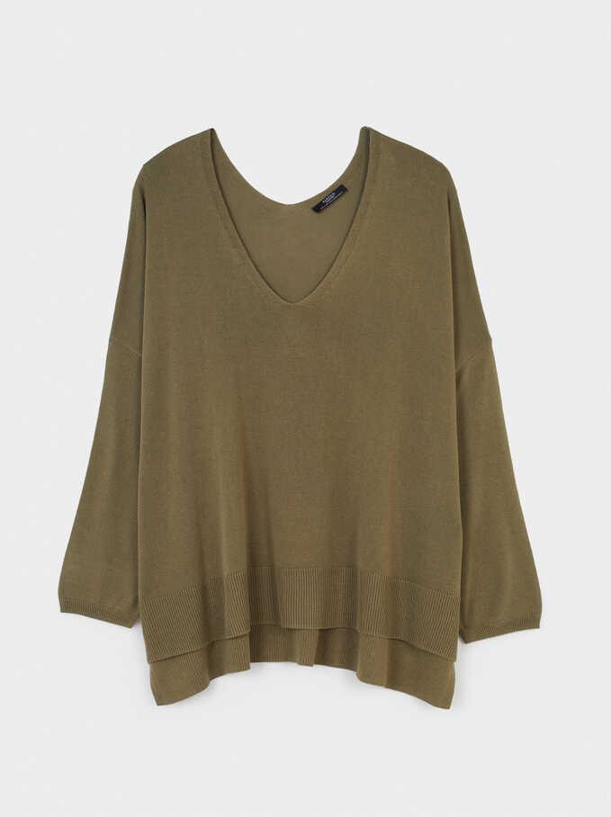 Knitted V-Neck Sweater, Khaki, hi-res