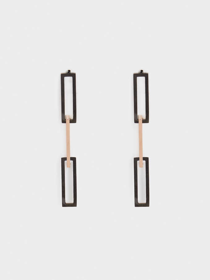 Steel Long Earrings, Orange, hi-res