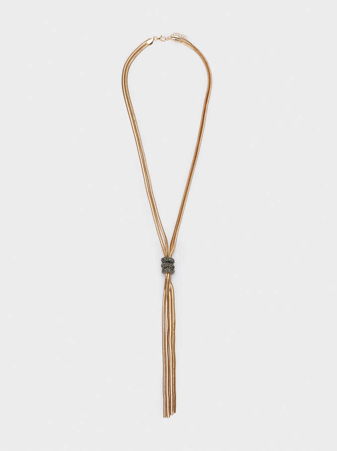 Long Knot Necklace With Crystals, Brown, hi-res