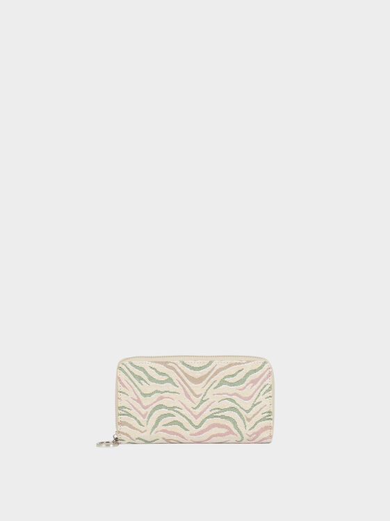 Large Printed Purse, Khaki, hi-res