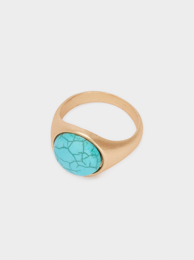 Multicoloured Stone Ring, Beige, hi-res