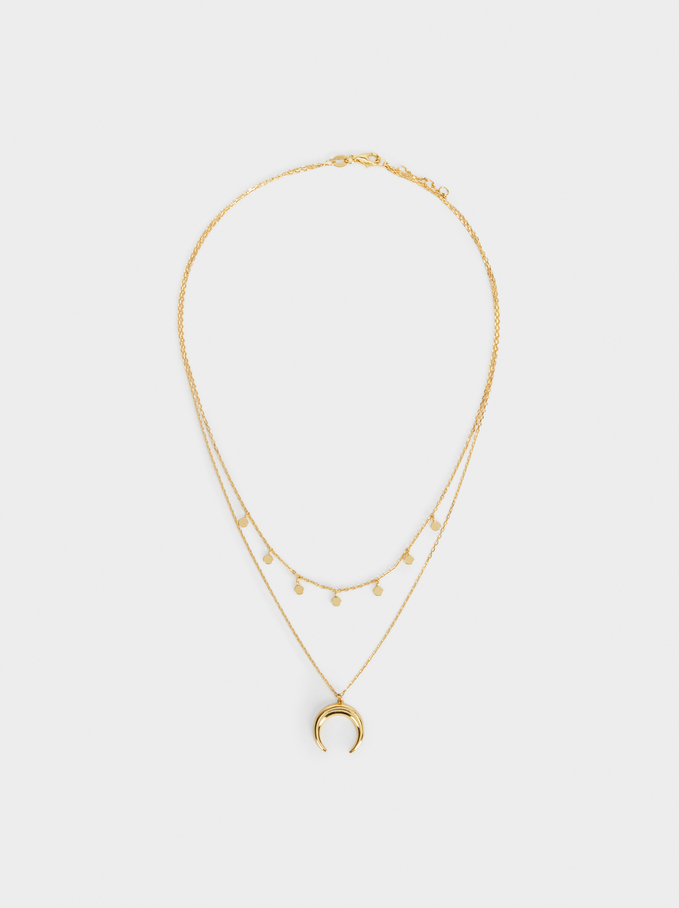 Short 925 Silver Necklace With Horn Pendant, Golden, hi-res