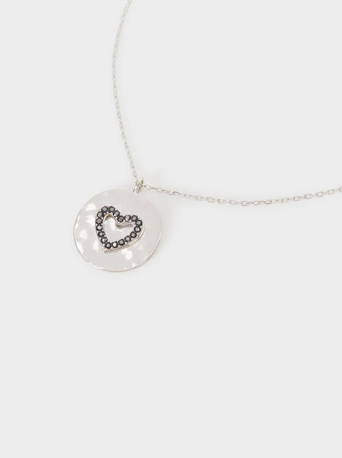 Collar Corto De Plata 925 Corazón, Plateado, hi-res