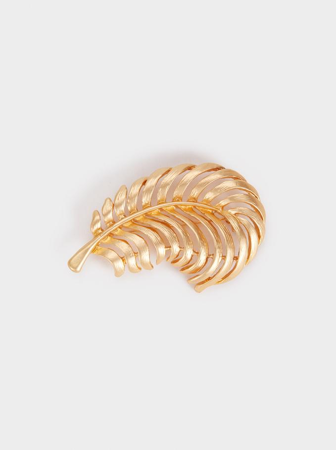 Gold-Finish Leaf Brooch, Golden, hi-res