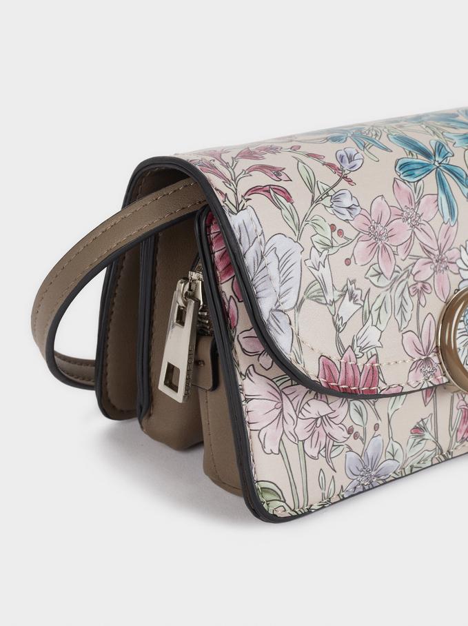 Housse Portable Imprimé Floral, Marron, hi-res
