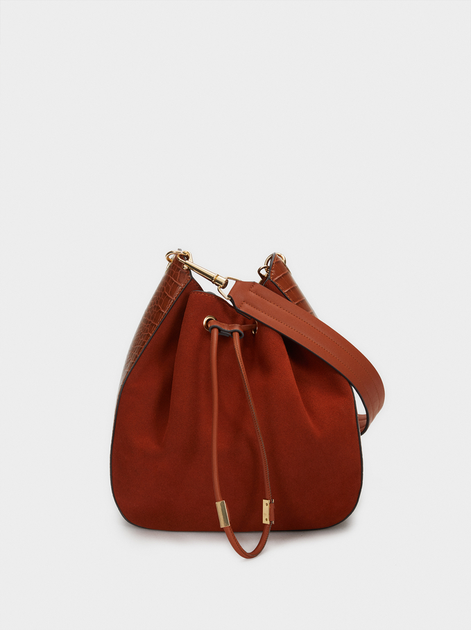 Suede Shoulder Bag With Contrasting Details, Camel, hi-res