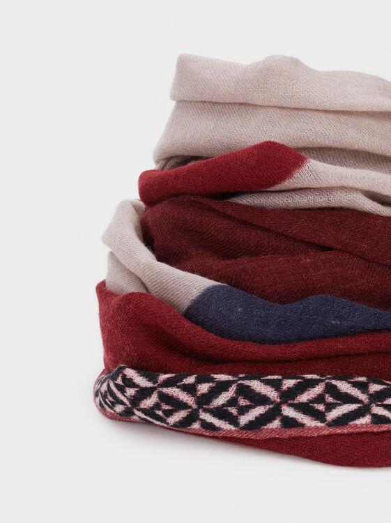 Printed Wool Scarf, Bordeaux, hi-res