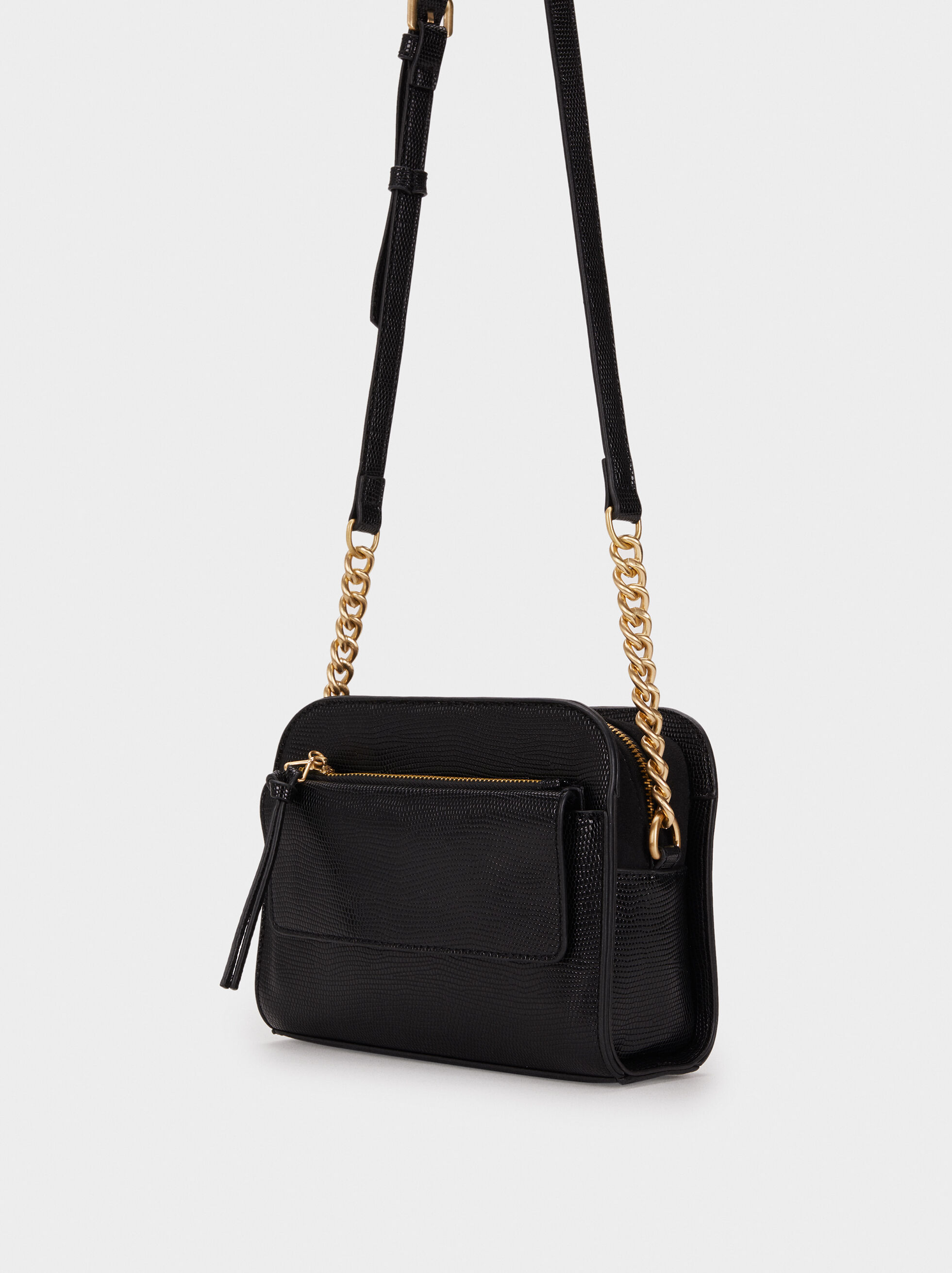 Animal Embossed Shoulder Bag, Black, hi-res