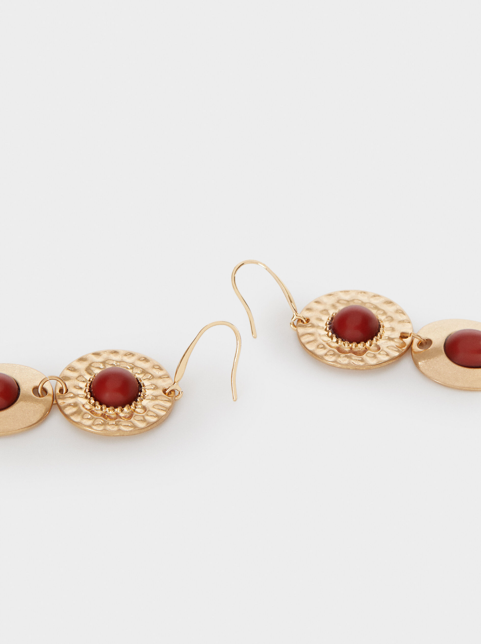 Long Gold Earrings, Bordeaux, hi-res