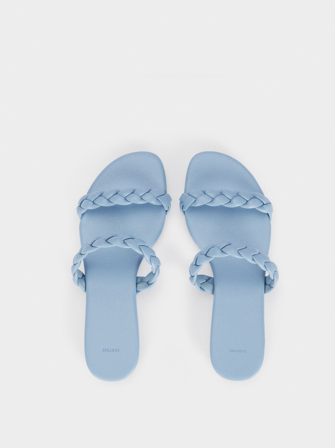 Flat Sandals With Braided Straps, Blue, hi-res