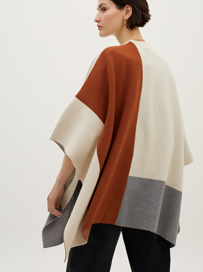Printed Knit Poncho, Brick Red, hi-res