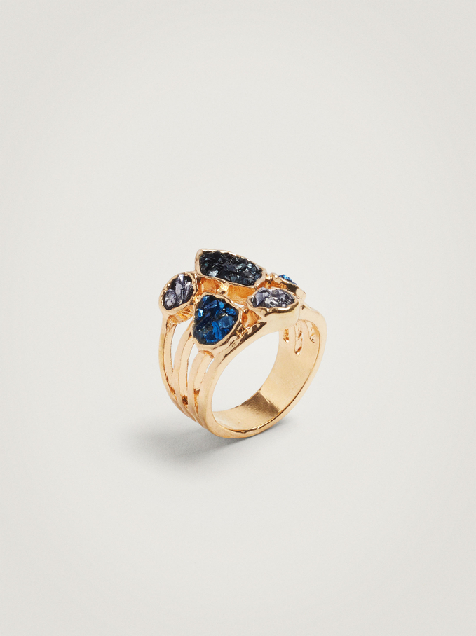 Ring With Crystals, Blue, hi-res