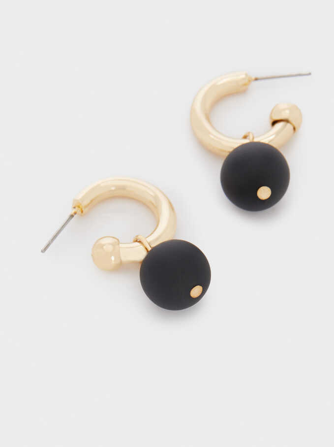 Small Hoop Earrings With Pendants, Black, hi-res