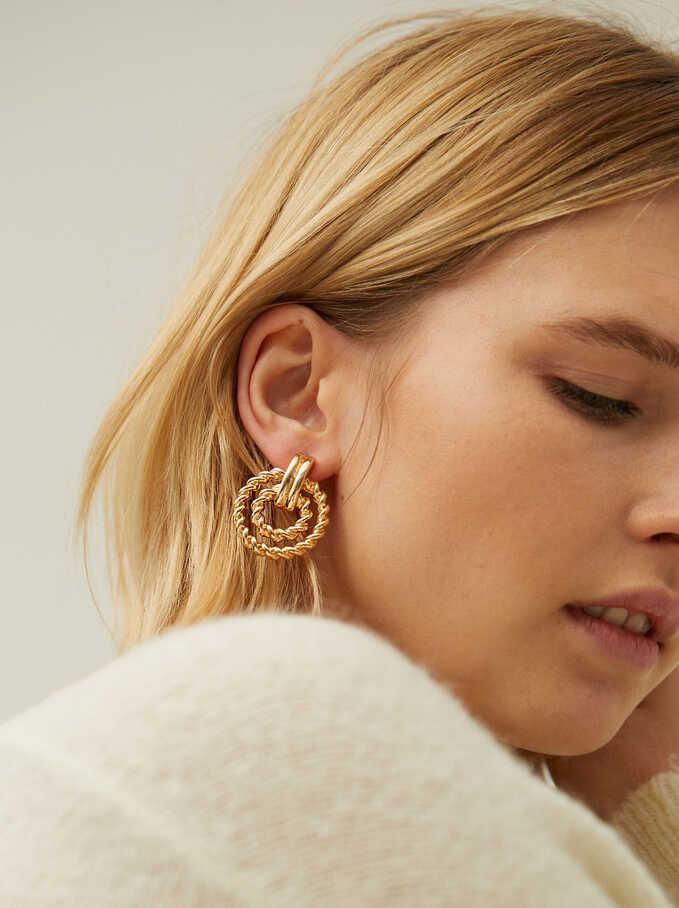 Short Woven Earrings, Golden, hi-res