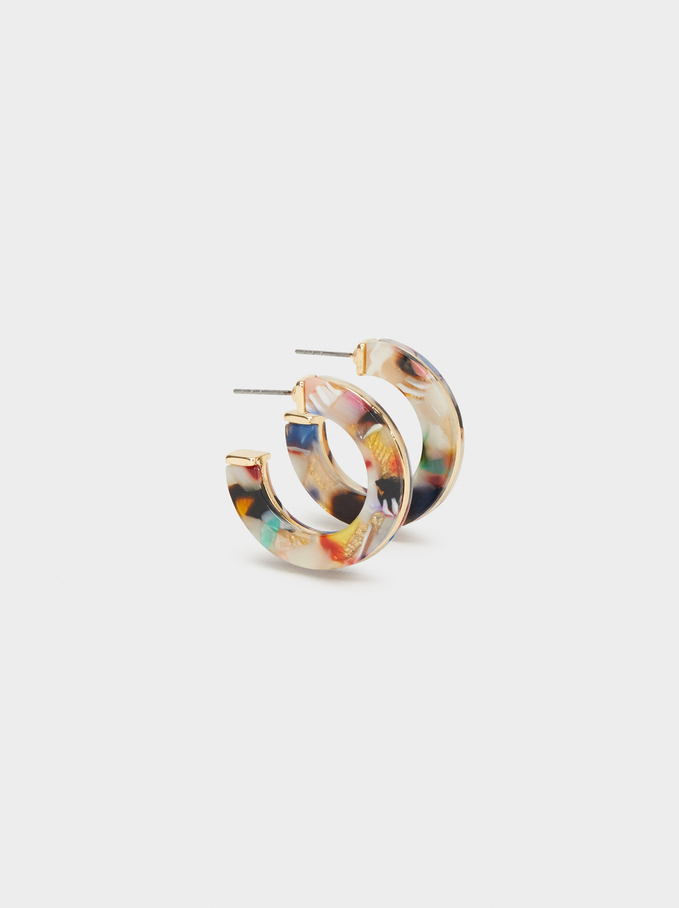 Wild Color Medium Hoop Earrings, Multicolor, hi-res