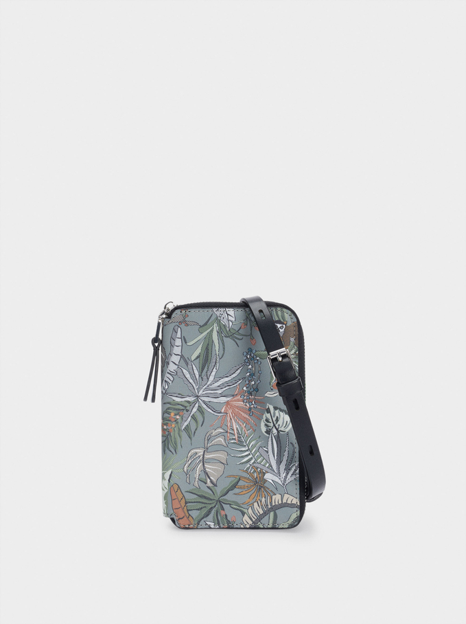 Leaf Print Mobile Phone Case, Khaki, hi-res