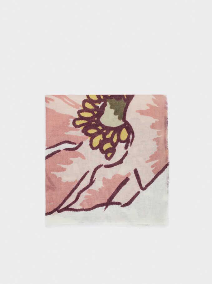 Floral Print Maxi Scarf, Ecru, hi-res