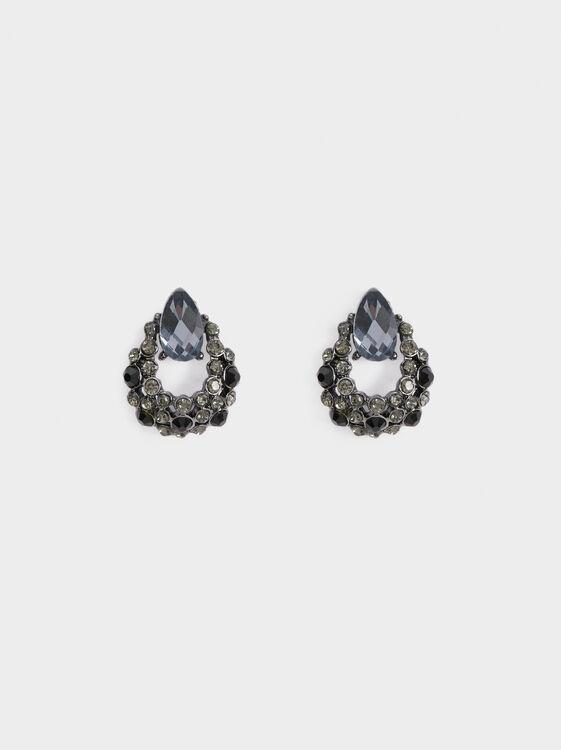 Star Dust Short Earrings With Rhinestones, Black, hi-res