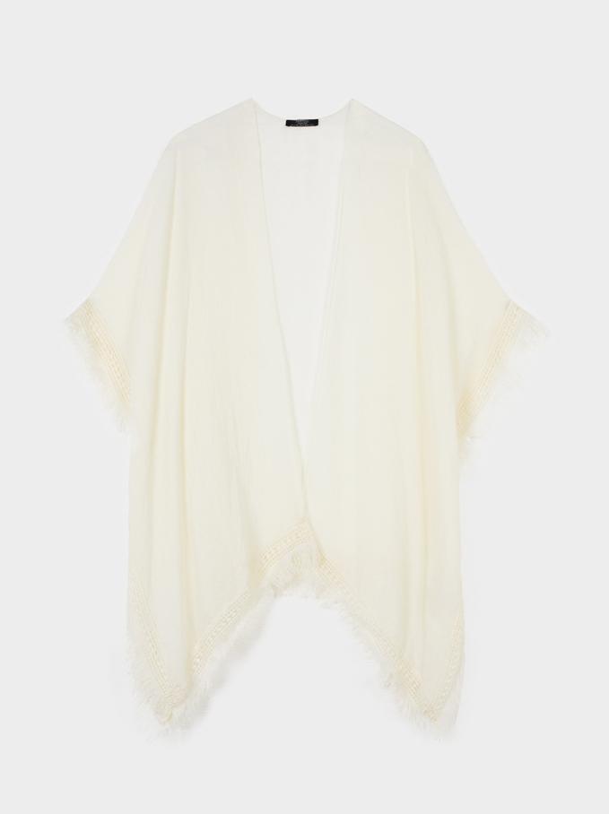 Offener Kimono Mit Fransen, Ekrü, hi-res
