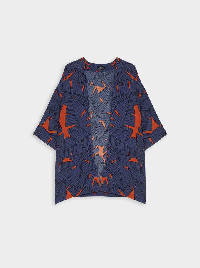 Printed Open Kimono , Blue, hi-res