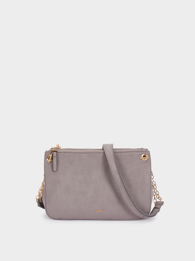 Fake Suede Crossbody Bag With Zip Fastening, Grey, hi-res
