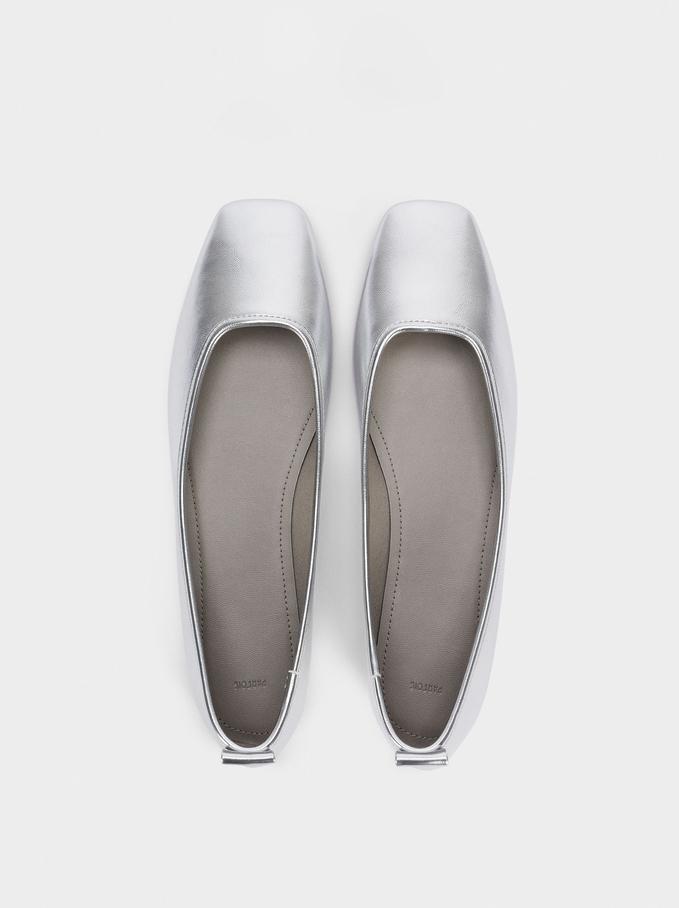 Square Toe Ballerinas, Silver, hi-res