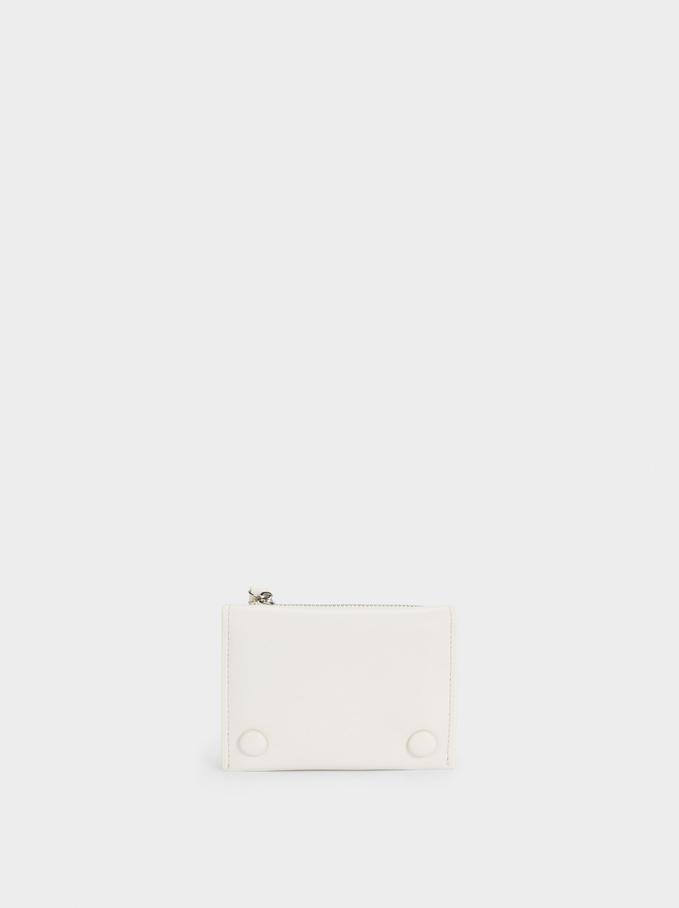 Portefeuille Compact Avec Fermeture À Rabat, Écru, hi-res