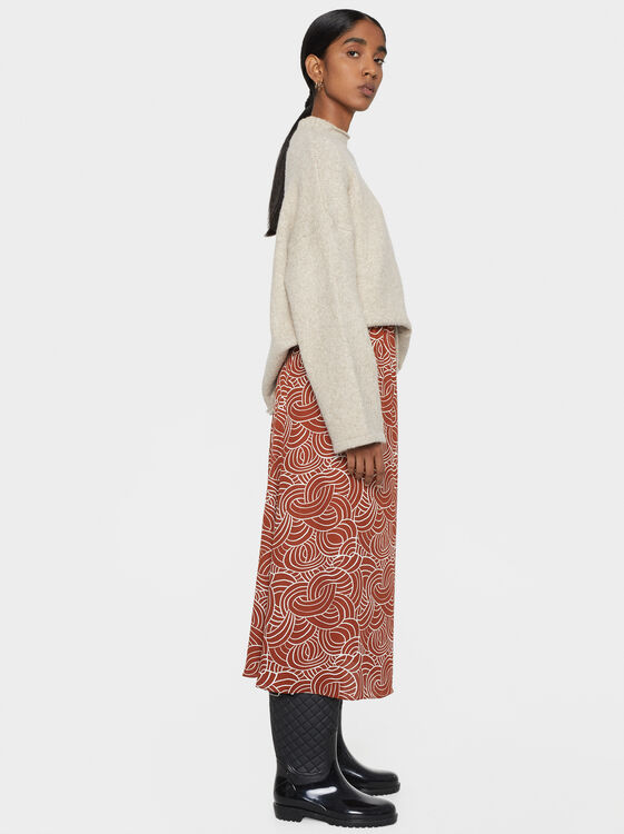 Printed Midi Skirt, Brick Red, hi-res
