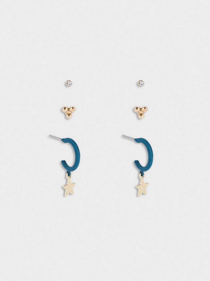 Set Of Hoop Earrings With Stars, Grey, hi-res