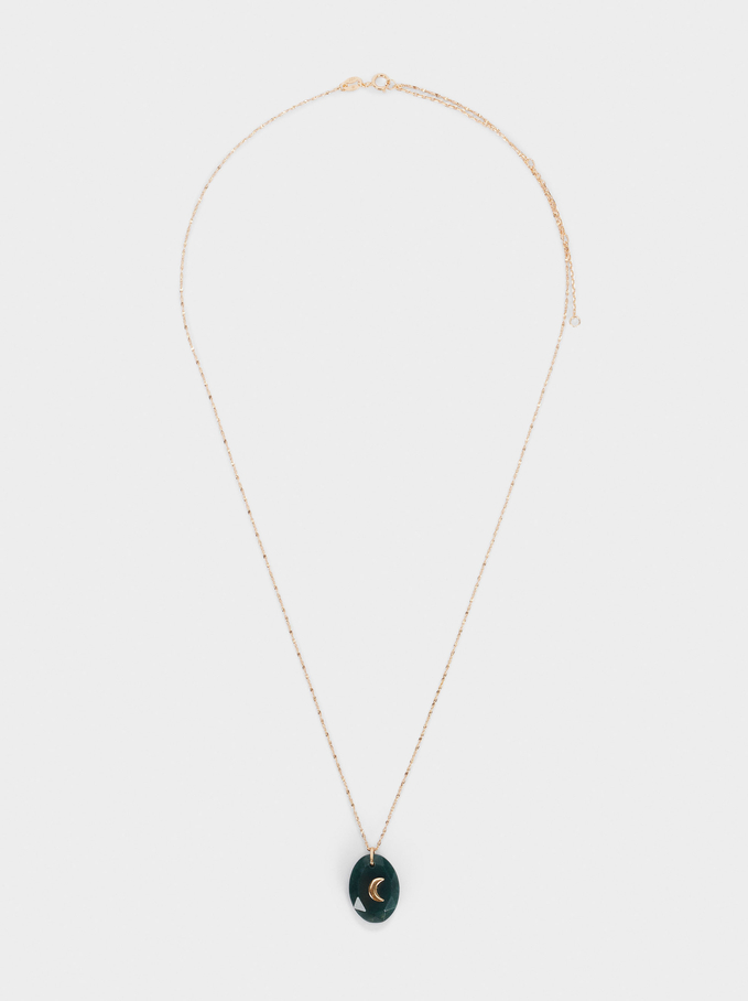 Short 925 Silver Necklace With Stone, Green, hi-res