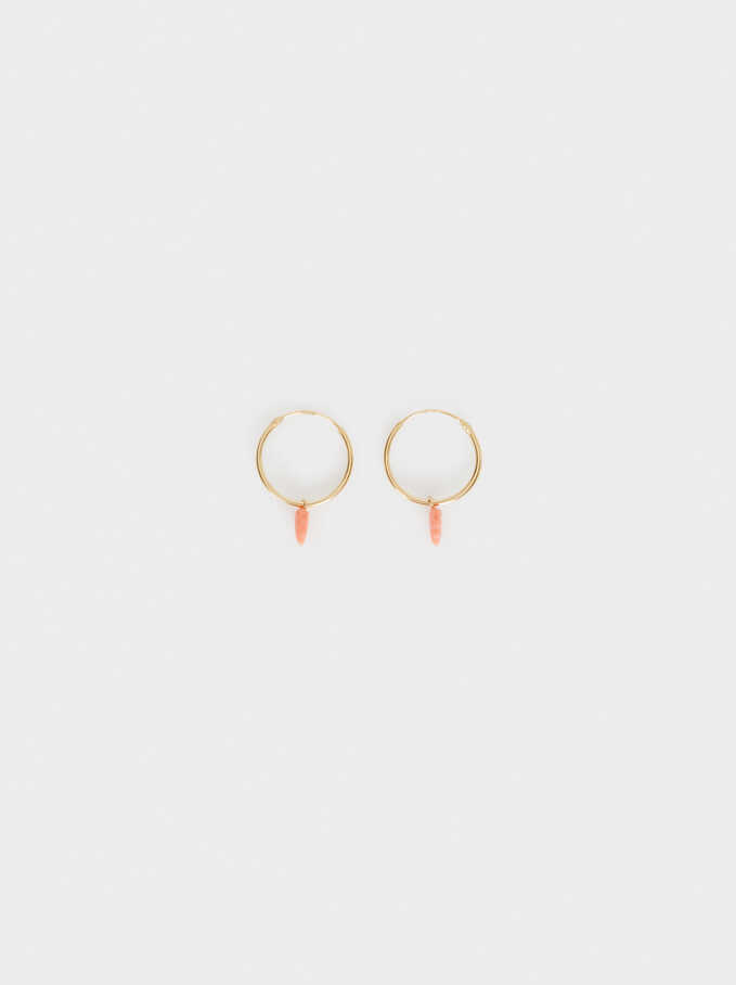 Short 925 Sterling Silver Leaf Hoops With Stones, Coral, hi-res