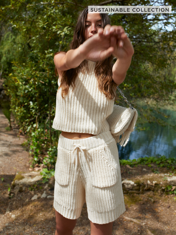 Limited Edition Knit Shorts Made From Recycled Materials, Ecru, hi-res