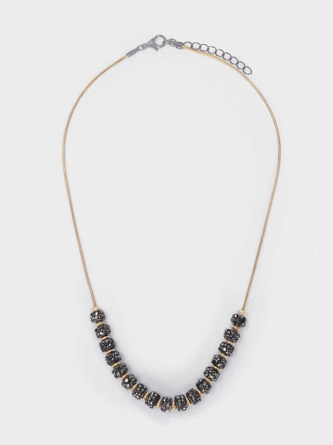 Short Necklace With Rhinestones, Multicolor, hi-res
