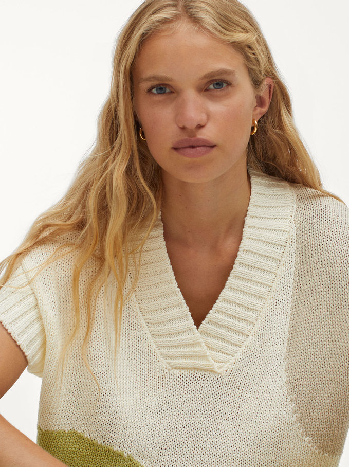 100% Cotton Knitted Printed Vest, Ecru, hi-res